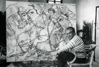 """1929, Francis Picabia devant son tableau """"Villica caja"""""""