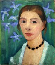 1905, Paula Modersohn-Becker : Autoportrait sur Fond Vert avec des Iris Bleus