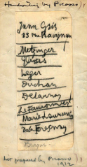 1912, List written by Picasso of European artists to be included in the 1913 Armory Show