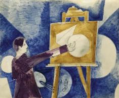 1920, Marc Chagall : Autoportrait au chevalet