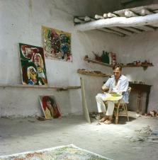 1961, Asger Jorn dans son atelier, Albisola (© photo Bartoli - www.museumjorn.dk)