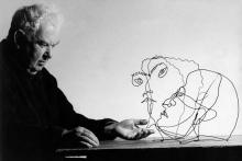 1963, Alexander Calder with Edgar Varese and Untitled