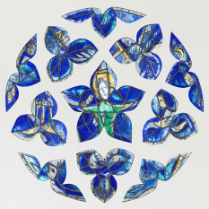 1964, Marc Chagall : La rose bleue ; vitrail d'étude pour la rosace du déambulatoire de la cathédrale de Metz