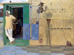 1988, Atul Dodiya : Ces chaussures sont à moi (portrait de Bhupen Khakhar)