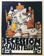 1918, Egon Schiele : Die Freunden (Les Amis), affiche de la 49ème exposition de la Sécession Viennoise