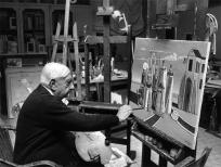 années 1960, Giorgio de Chirico peignant ses Bagni misteriosi