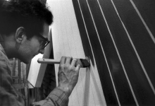 1964, Frank Stella, Black painting (photo by Ugo Mulas)