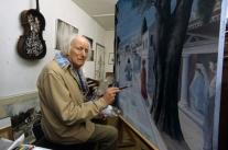 1982, Bruno Bachelet : Paul Delvaux dans son atelier de Furnes