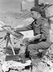 _Charles Comfort en train de peindre dans la région d'Ortona, en Italie, lorsqu'il est artiste de guerre