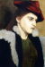 1900, Paula Modersohn-Becker : Bildnis einer jungen Frau mit rotem Hut