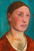 1903, Paula Modersohn-Becker : Paysanne en buste dans une robe rouge