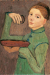 1904, Paula Modersohn-Becker : Selbstbildnis eine Schale und ein Glas haltend