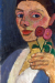 1907, Paula Modersohn-Becker : Autoportrait with red flower wreath and chain