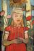 1907, Paula Modersohn-Becker : Madchen im roten Kleid vor Sonnenblume