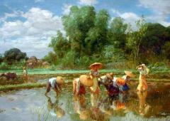 1922, Fernando Amorsolo : Rice planting