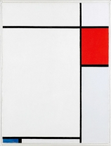 1927, Piet Mondrian : Composition with Red, Blue and Grey
