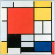 1921, Piet Mondrian : Composition with Large Red Plane, yellow, black, grey and blue